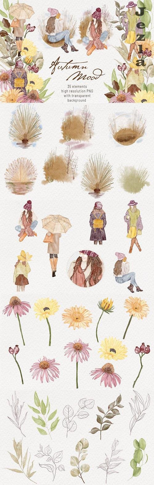 Autumn Girls Watercolor Clipart Boho Autumn Mood - 1485040
