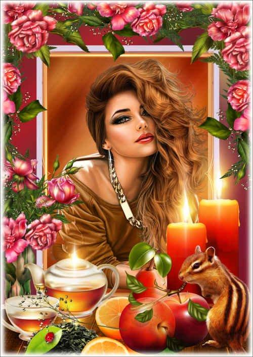 Цветочная рамка для фото - Ароматный чай при свечах
