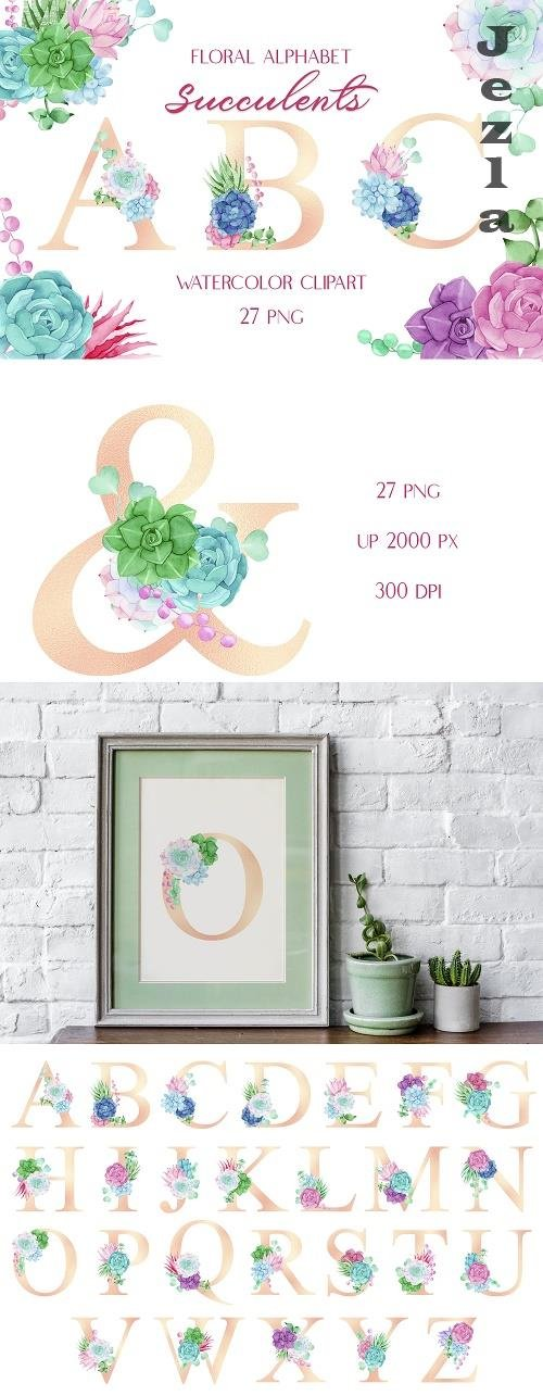 Watercolor Pink Gold Alphabet with Colorful Succulents - 1486599