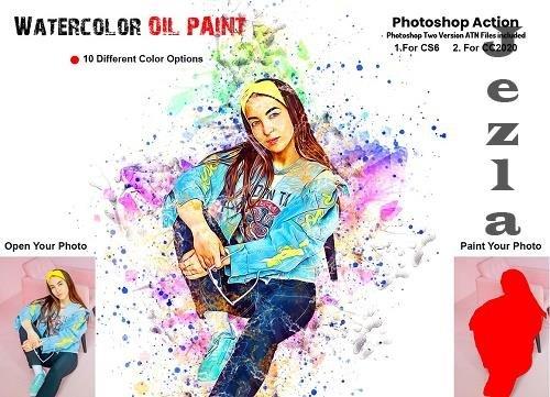 Watercolor Oil Paint PS Action - 6258660