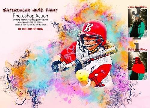 Watercolor Hand Paint PS Action - 6270235
