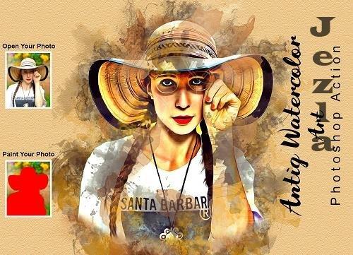 Antiq Watercolor Art PS Action - 6305902