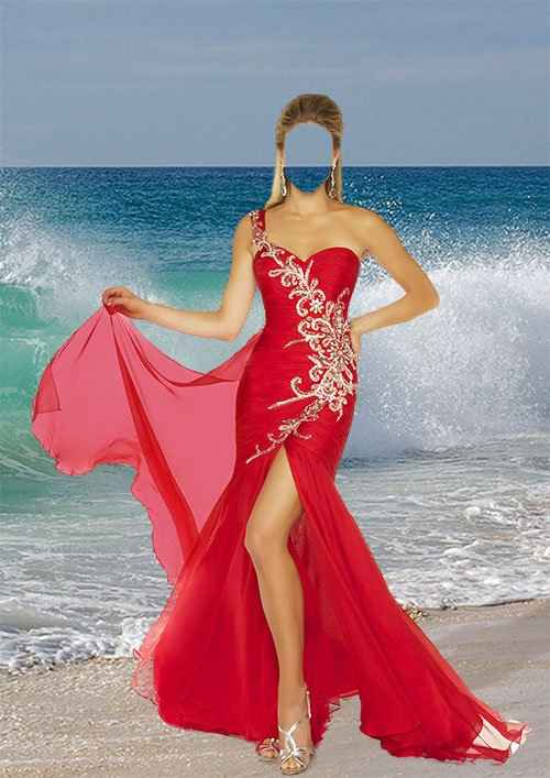Женский шаблон psd - На фоне морской волны
