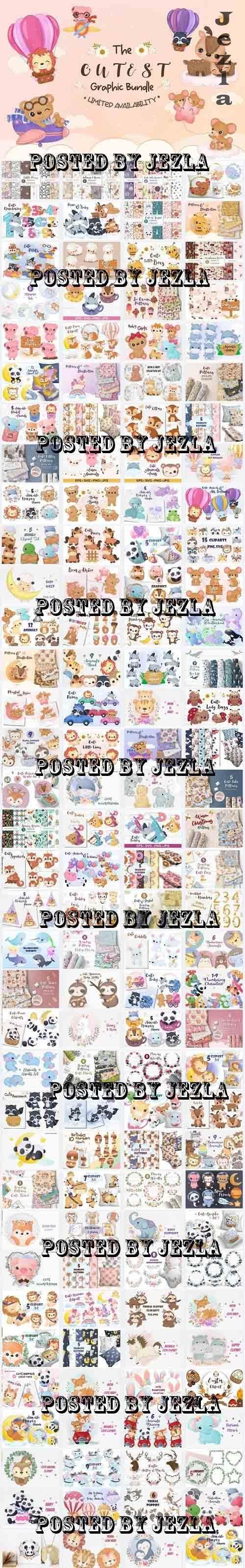 Cute Animals & Patterns Bundle - 139 Premium Graphics