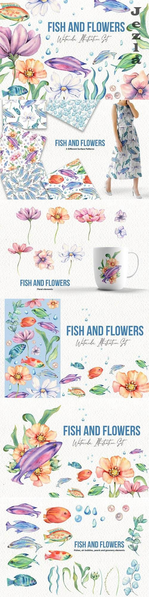 Fishes and Flowers Illustration Set - 6364609