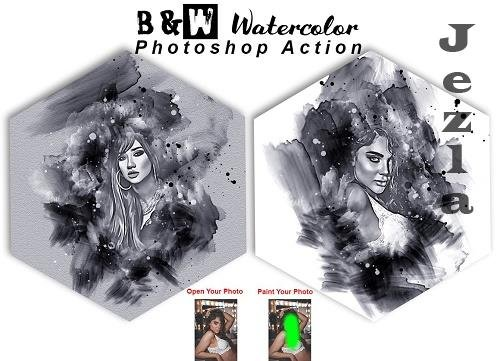 B & W Watercolor PS Action - 6366320