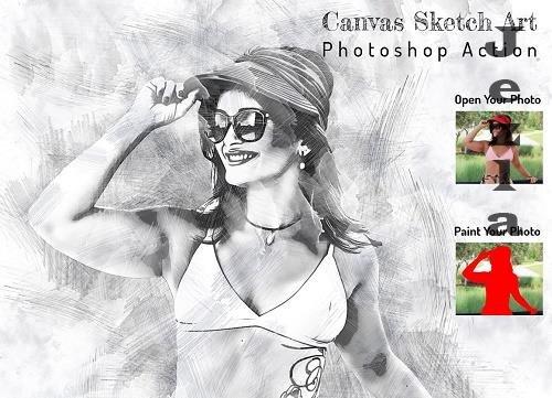 Canvas Sketch Art PS Action - 6376926
