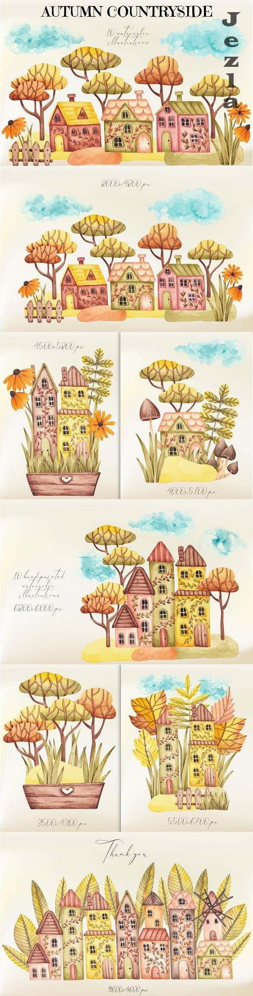 Watercolor Illustrations Autumn Countryside - 1506889