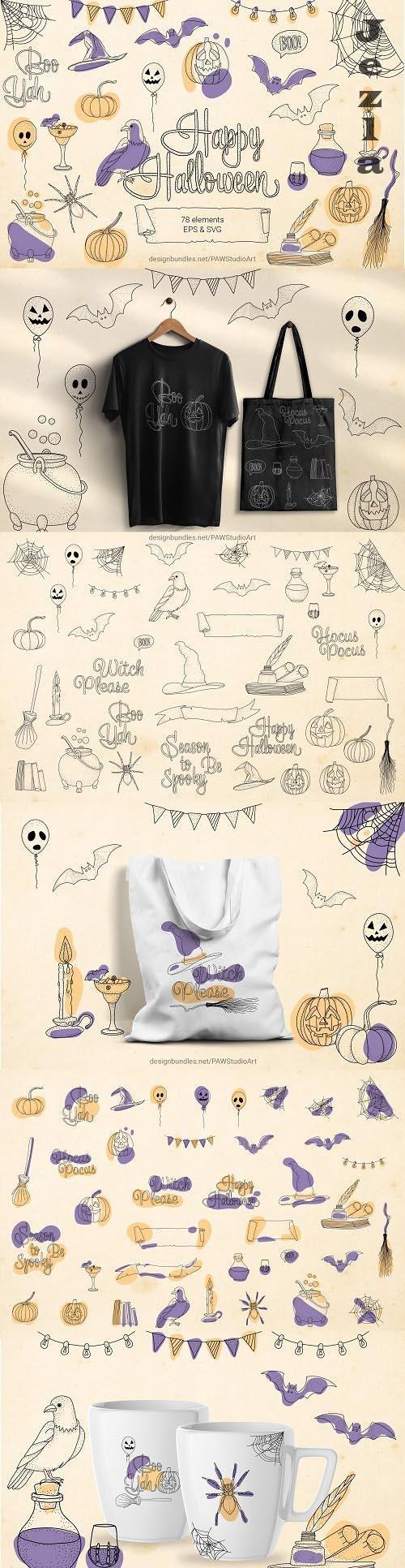 Halloween SVG Sign Bundle Spooky Clipart - 1547356