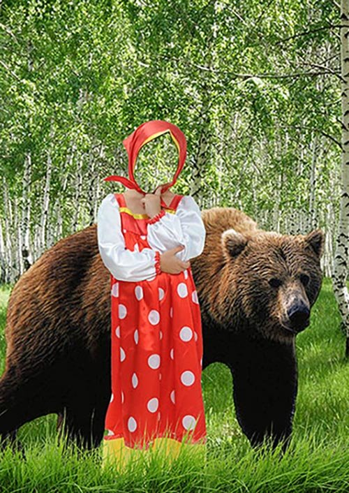 Детский костюм для фотошопа - Маша и медведь
