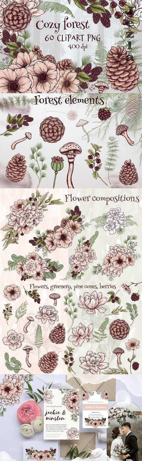 Woodland png files,forest wedding design elements clipart - 1564907