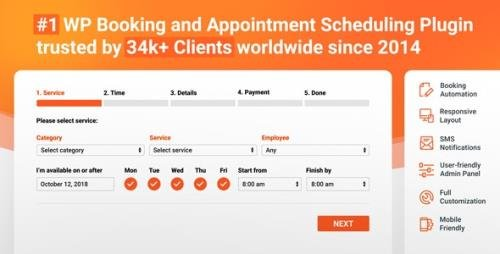 CodeCanyon - Bookly PRO v4.1 / Bookly v20.1 - Appointment Booking and Scheduling Software System - 7226091 -