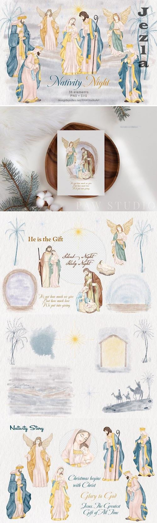 Religious Christmas Nativity Watercolor Clipart - 1569926