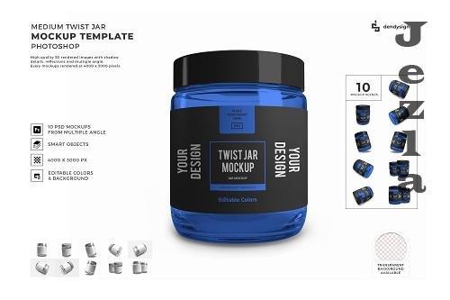 Medium Twist Jar Packaging 3D Mockup Template Bundle - 1571106