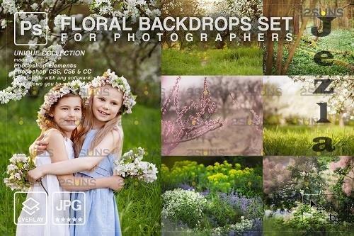 Blooming backdrop PHSP background floral portrait art - 1447839