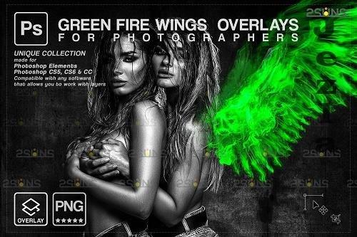 Green Fire wings overlay & Halloween overlay, PHSP overlay - 1447893