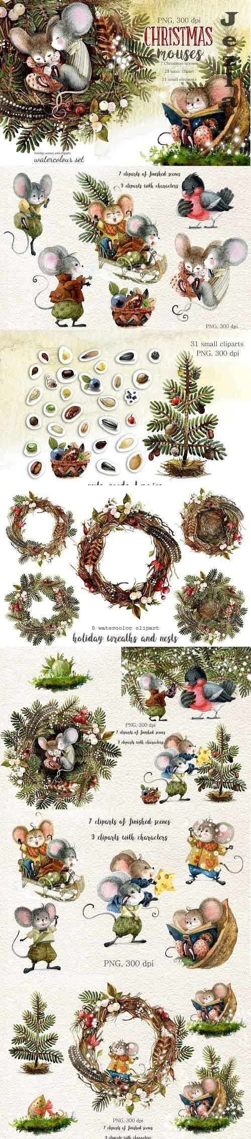 Christmas mouse. Watercolor cliparts - 975534