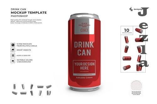 Drink Can Packaging 3D Mockup Template Bundle - 1579471