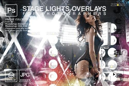 Stage lights overlays, smoke background, light textures - 1447868