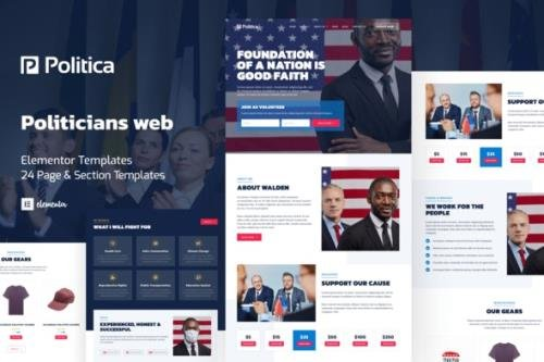 ThemeForest - Politica v1.0.0 - Politician & Public Servant Elementor Template Kit - 33757172