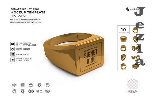 Square Signet Ring 3D Mockup Template Bundle - 1585220