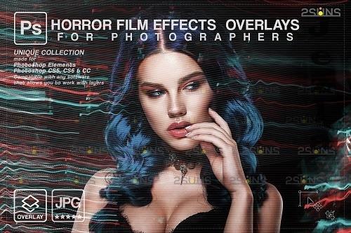 Horror effects, Film Grain Textures, Scratch Photo Overlays - 1447897
