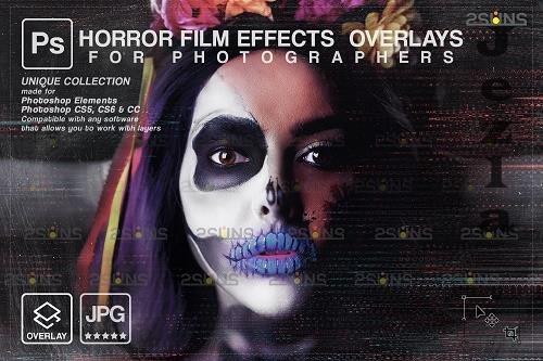 Horror effects, Film Grain Textures, Scratch Photo Overlays - 1583886