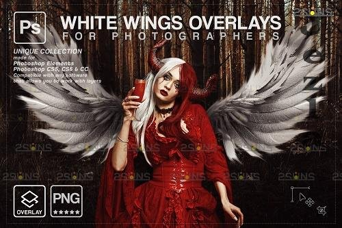 Realistic White Angel Wings PHSP Overlays V1 - 1583893