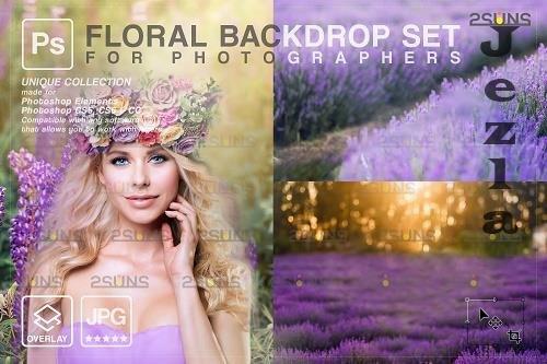 Blooming backdrop PHSP background floral portrait art V4 - 1447940