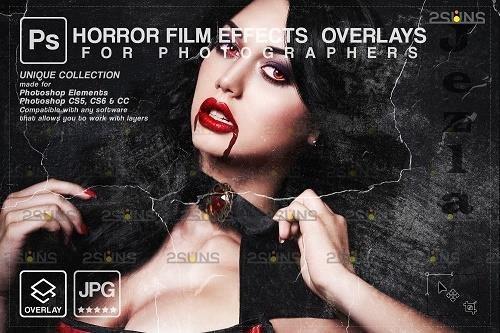 Horror effects, Film Grain Textures, Scratch Photo Overlays V2 - 1583891