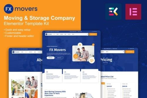 ThemeForest - FX Movers v1.0.0 - Moving & Storage Company Elementor Template Kit - 33776359