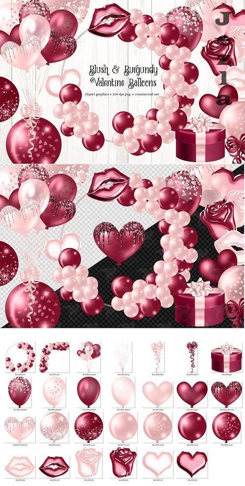 Blush and Burgundy Valentine Balloon - 6502774