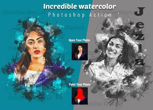 Incredible Watercolor PS Action - 6503656
