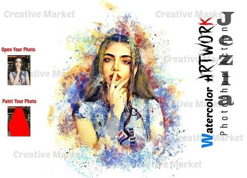 Watercolor Artwork Photoshop Action - 6511078