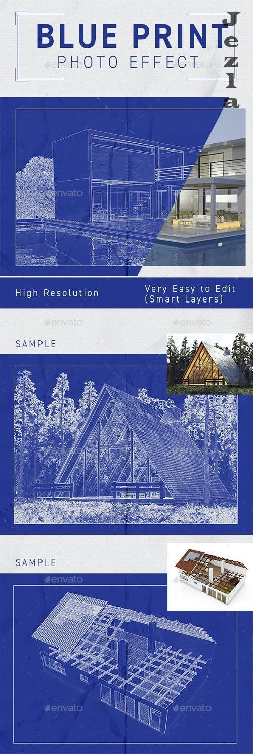 Architect Blueprint Photo Effect - 33249812