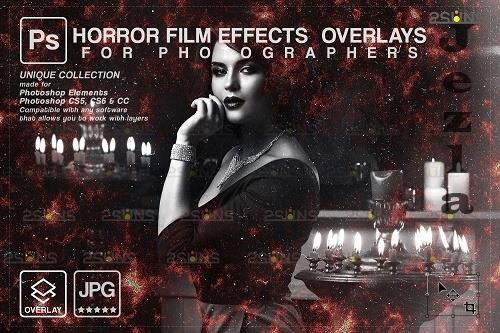 Horror effects, Film Grain Textures, Scratch Photo Overlays - 1447902