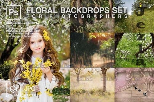 Blooming backdrop PHSP background floral portrait art V2 - 1447935
