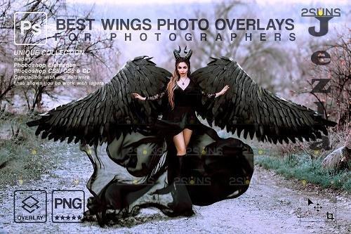 Realistic White Black Gold Angel Wings PHSP Overlays V1 - 1447937