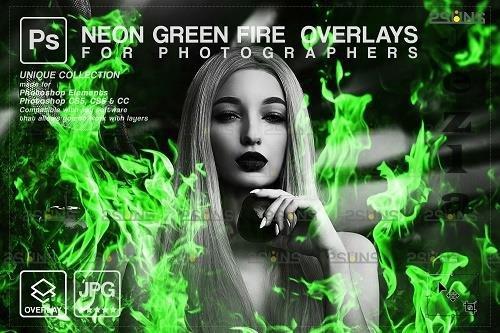 Fire background, PHSP overlay, Burn overlays, Neon Green Fire V2 - 1447963