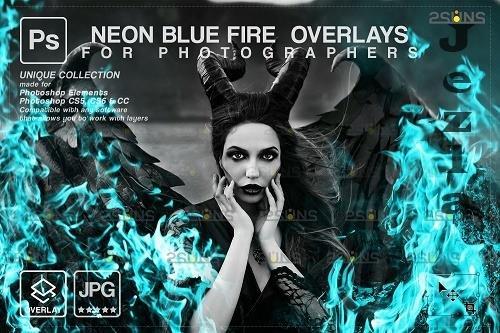 Fire background, Photoshop overlay, Burn overlays, Neon Blue Fire V3 - 1447966