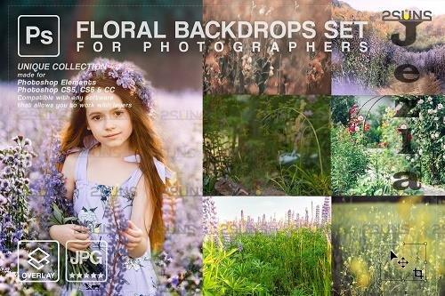 Blooming backdrop photoshop background floral portrait art V3 - 1447936