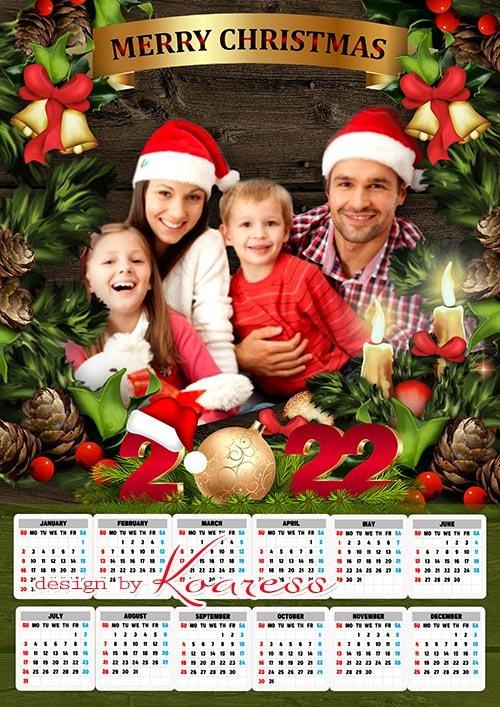Новогодний, рождественский настенный календарь на 2022 год - Merry Christmas wall calendar 2022