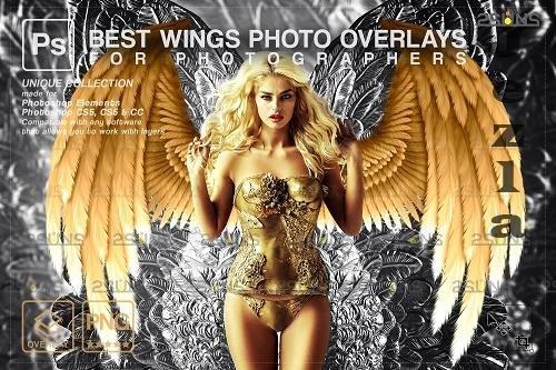 Realistic White Black Gold Angel Wings PHSP Overlays V2 - 1447938