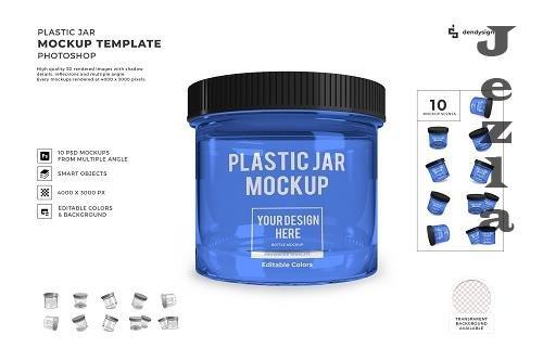Plastic Jar Packaging 3D Mockup Template Bundle - 1599006