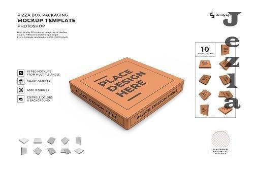 Pizza Box Packaging 3D Mockup Template Bundle - 1596414
