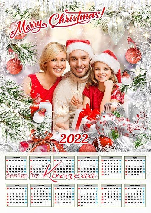 Новогодний и рождественский календарь на 2022 год с рамкой для фото - Merry Christmas calendar 2022
