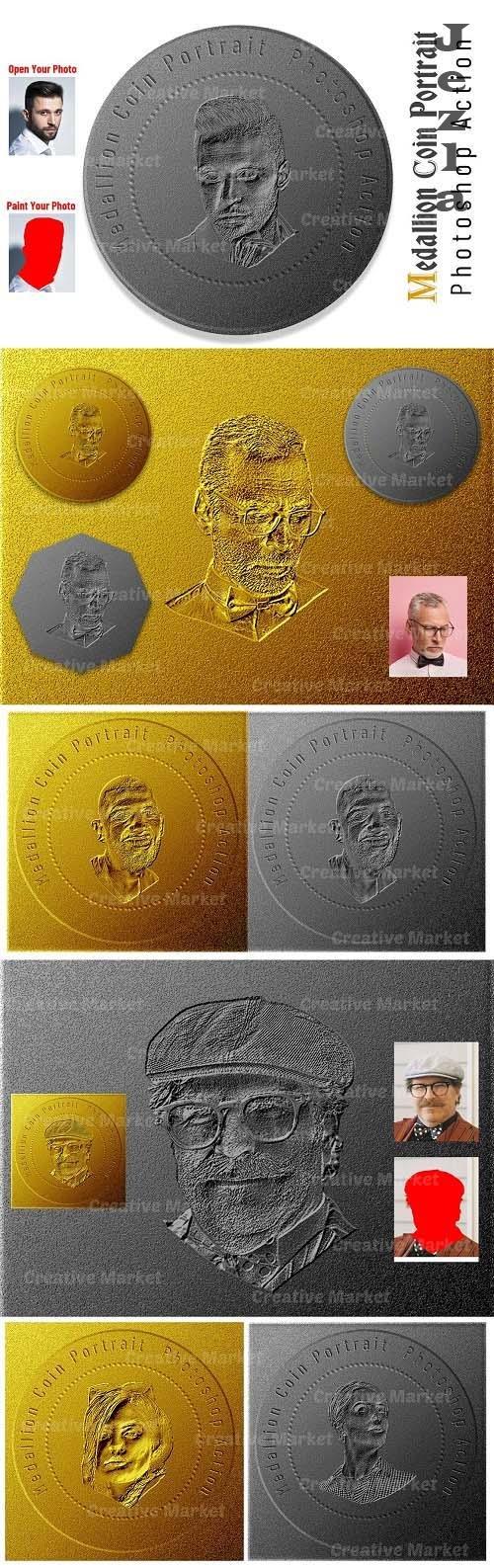 Medallion Coin Portrait PS Action - 6530547
