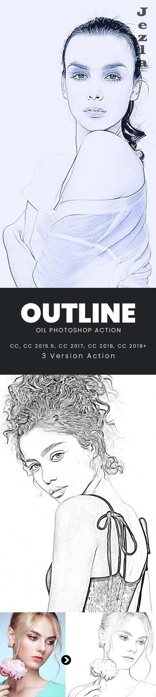 Outline Oil Photoshop Action - 33052588