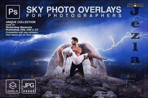 Stormy sky overlay & Night sky overlay, Photoshop overlay V9 - 1583998