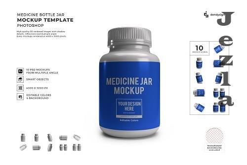 Medicine Bottle Plastic Jar Packaging 3D Mockup Template Bundle - 1610065